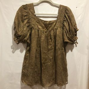 Nicole Miller gold puff sleeve top size 10
